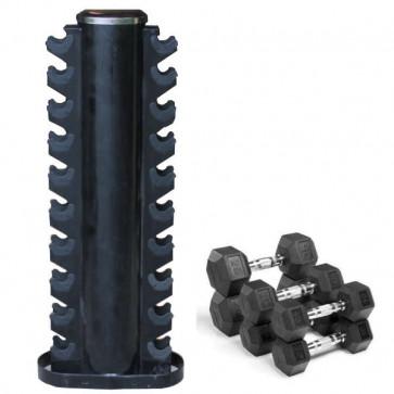 Lodretstående stativ fylder minimalt og plads til 10 par håndvægte