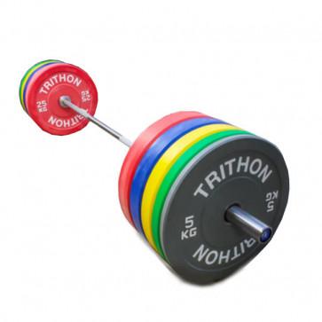 farvet vægtskiver inklusiv vægtstang