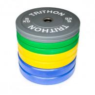 Komplet pakke med farvede vægtskiver fra 5 til 20 kg